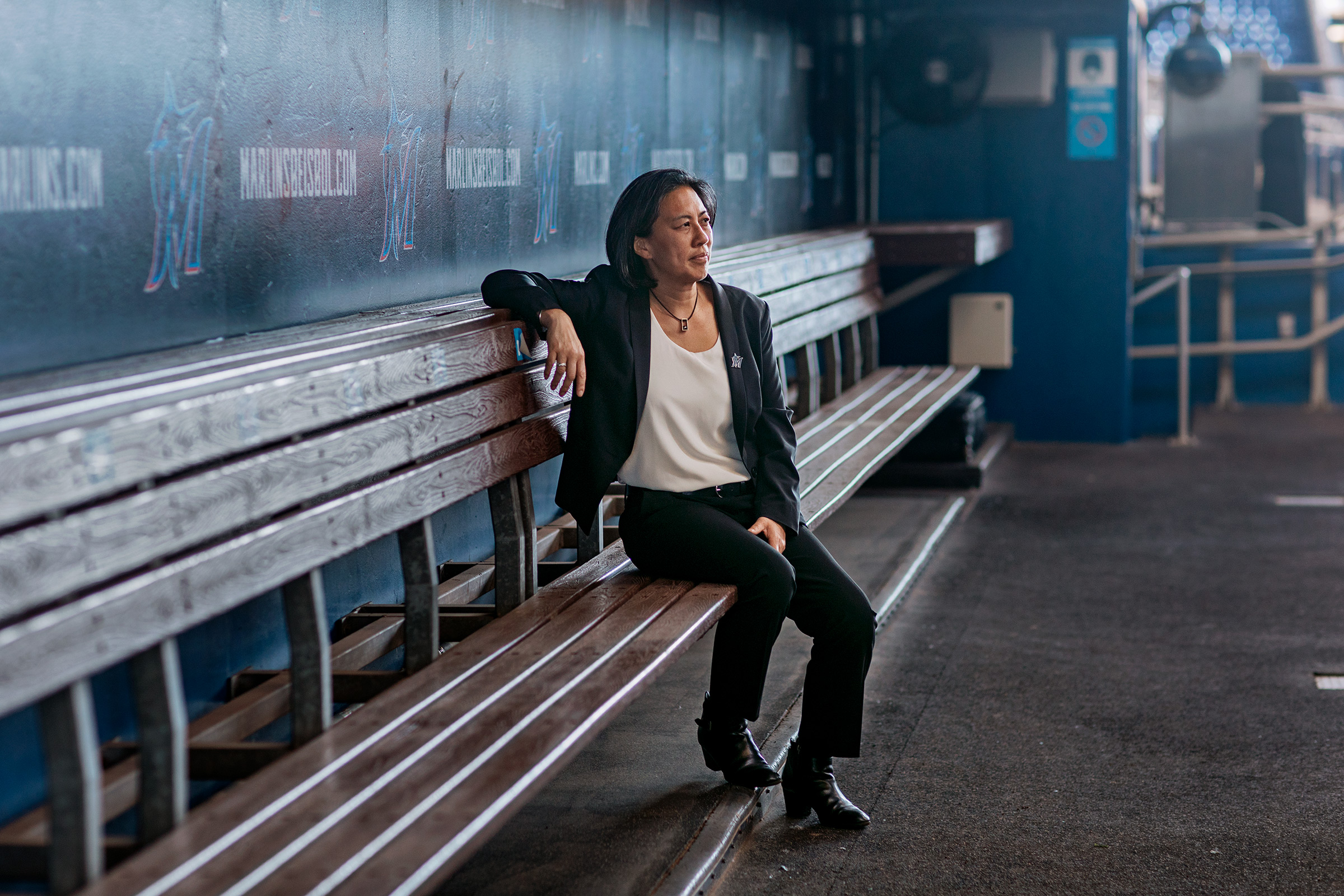 Kim Ng in the dugout of Marlins Park in Miami on Feb. 9