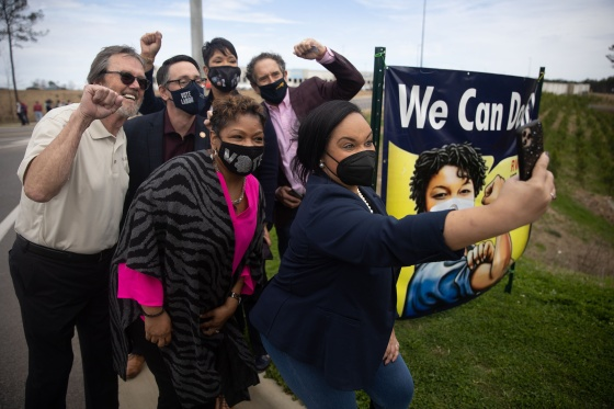 Congressman Nikema Williams meets union organizers outside of the Amazon BHM1 facility during a congressional visit to the site in Birmingham, Ala., on March 5, 2021.