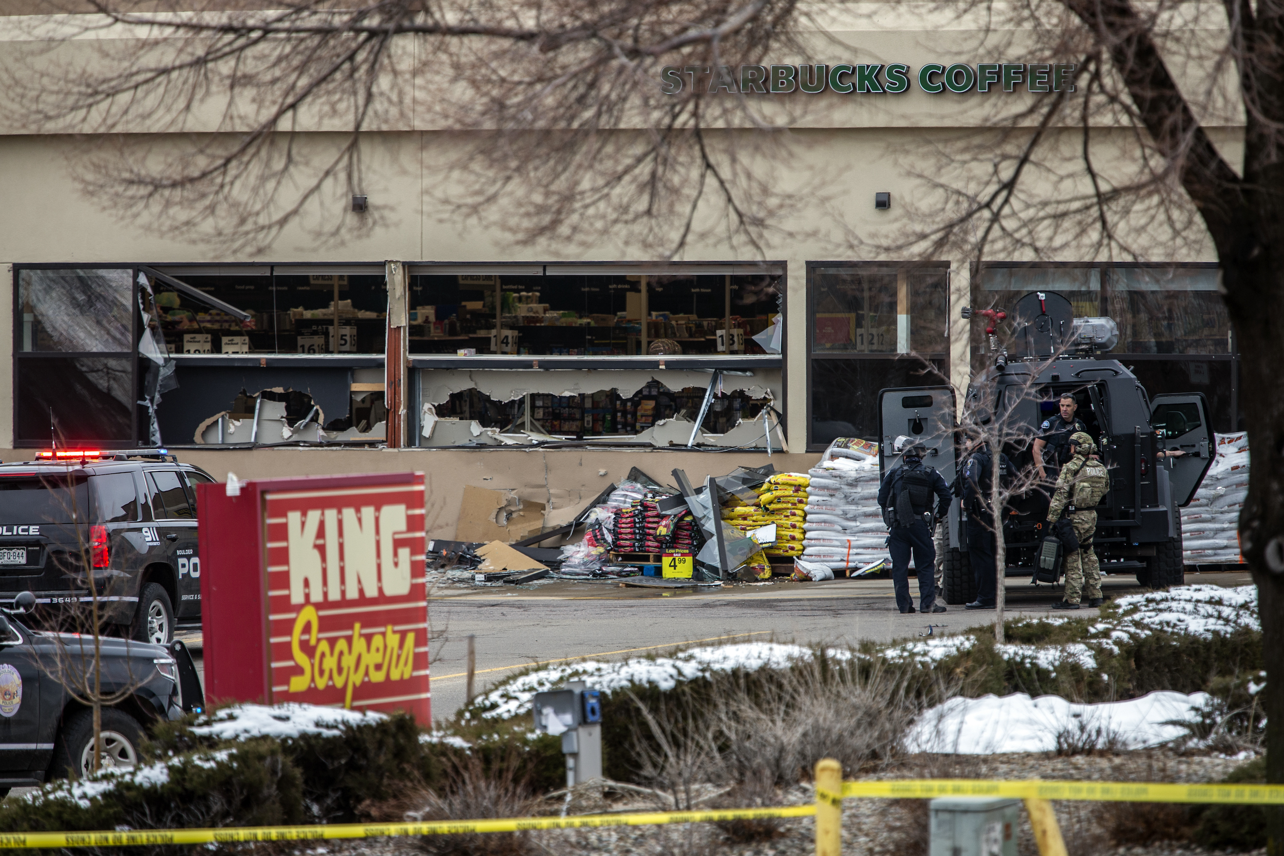 Tactical police units respond to the scene at a King Soopers grocery store after a shooting on March 22, 2021 in Boulder, Colorado.