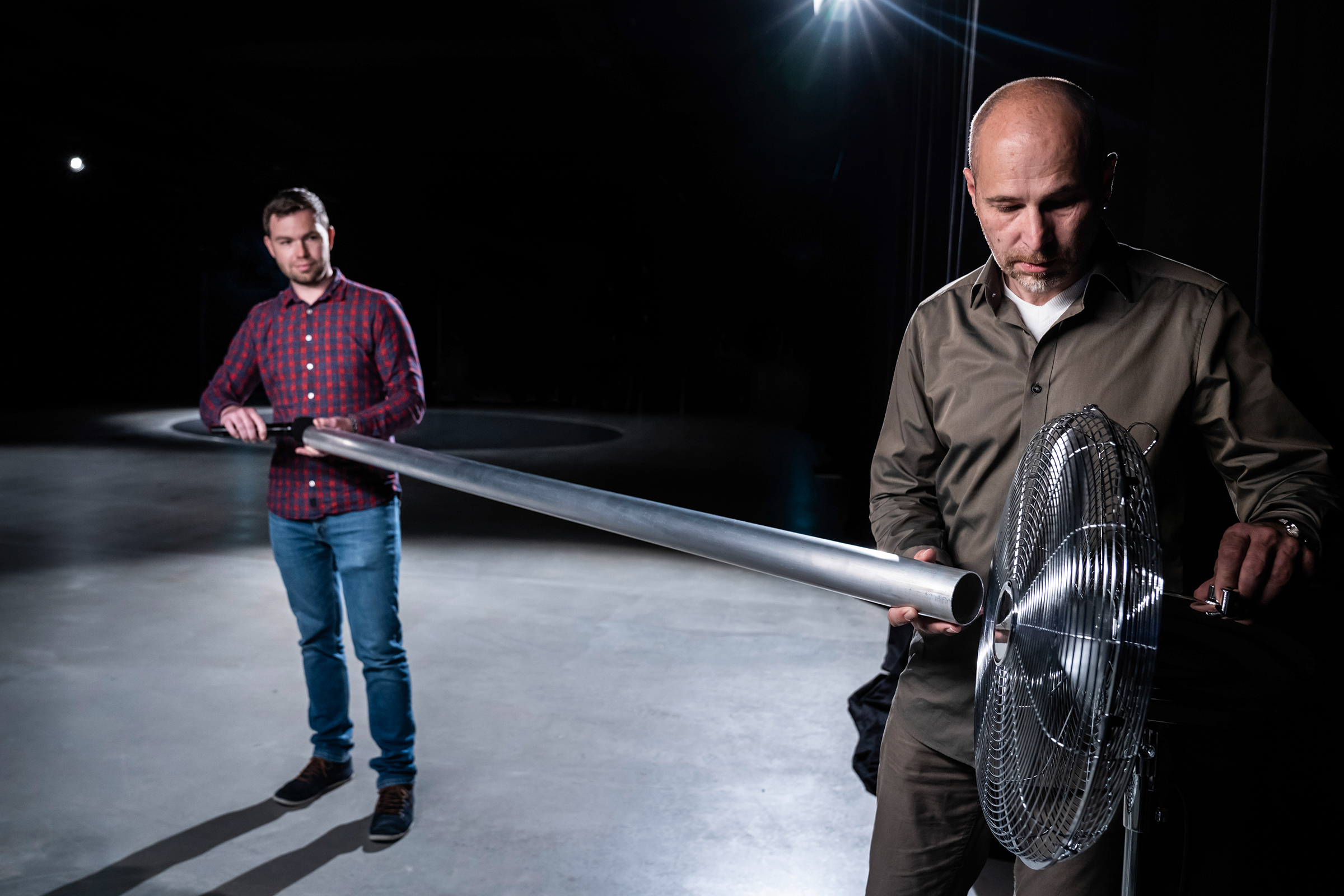 Audi sound engineers Stephan Gsell and Rudolf Halbmeir experiment with sound-production techniques