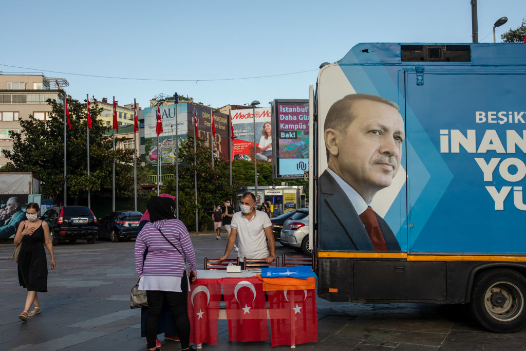 A Justice and Development Party (AKP) campaign truck, featuring an image of Turkey's President Recep Tayyip Erdogan, sits parked in Istanbul, Turkey, on Thursday, Aug. 27, 2020.