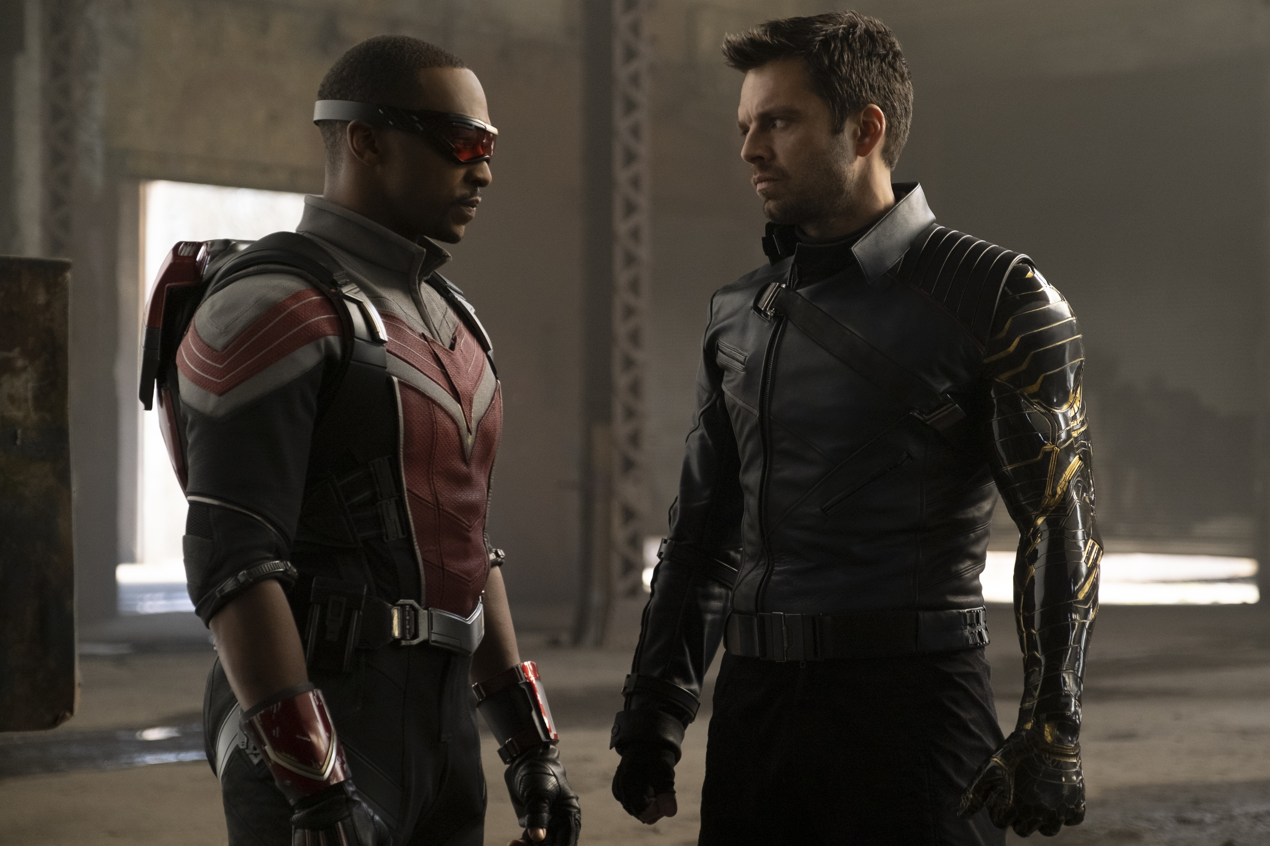 Anthony Mackie and Sebastian Stan in Falcon and the Winter Soldier