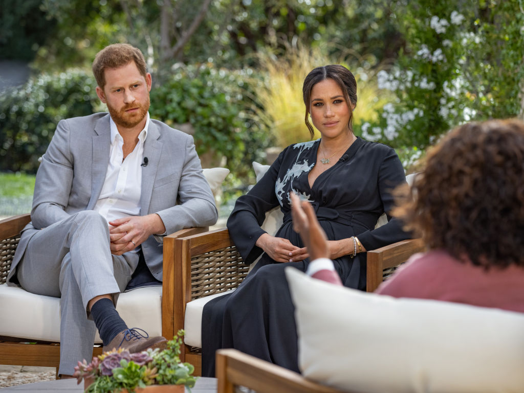 Oprah Winfrey interviews Prince Harry and Meghan Markle on A CBS Primetime Special, which premiered on CBS on March 7, 2021