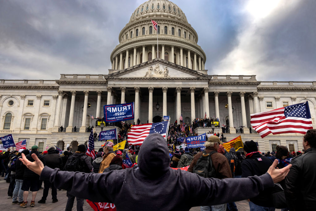 Pro-Trump protesters gather in front of the U.S. Capitol Building on January 6, 2021 in Washington, DC. Trump supporters gathered in the nation's capital to protest the ratification of President-elect Joe Biden's Electoral College victory over President Trump in the 2020 election. A pro-Trump mob later stormed the Capitol, breaking windows and clashing with police officers. Five people died as a result.