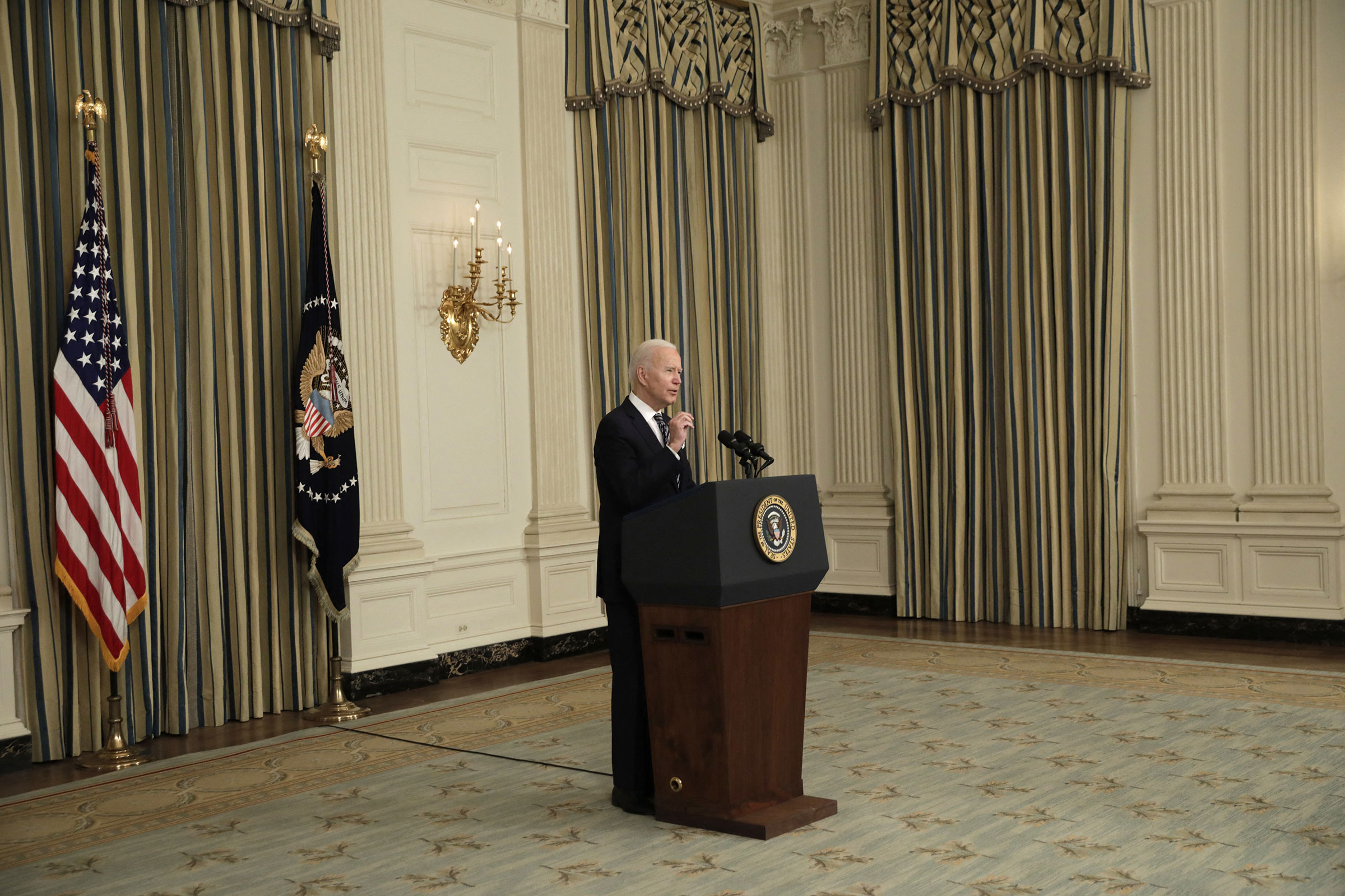 President Joe Biden delivers remarks on the implementation of the American Rescue Plan at the White House on March 15, 2021.