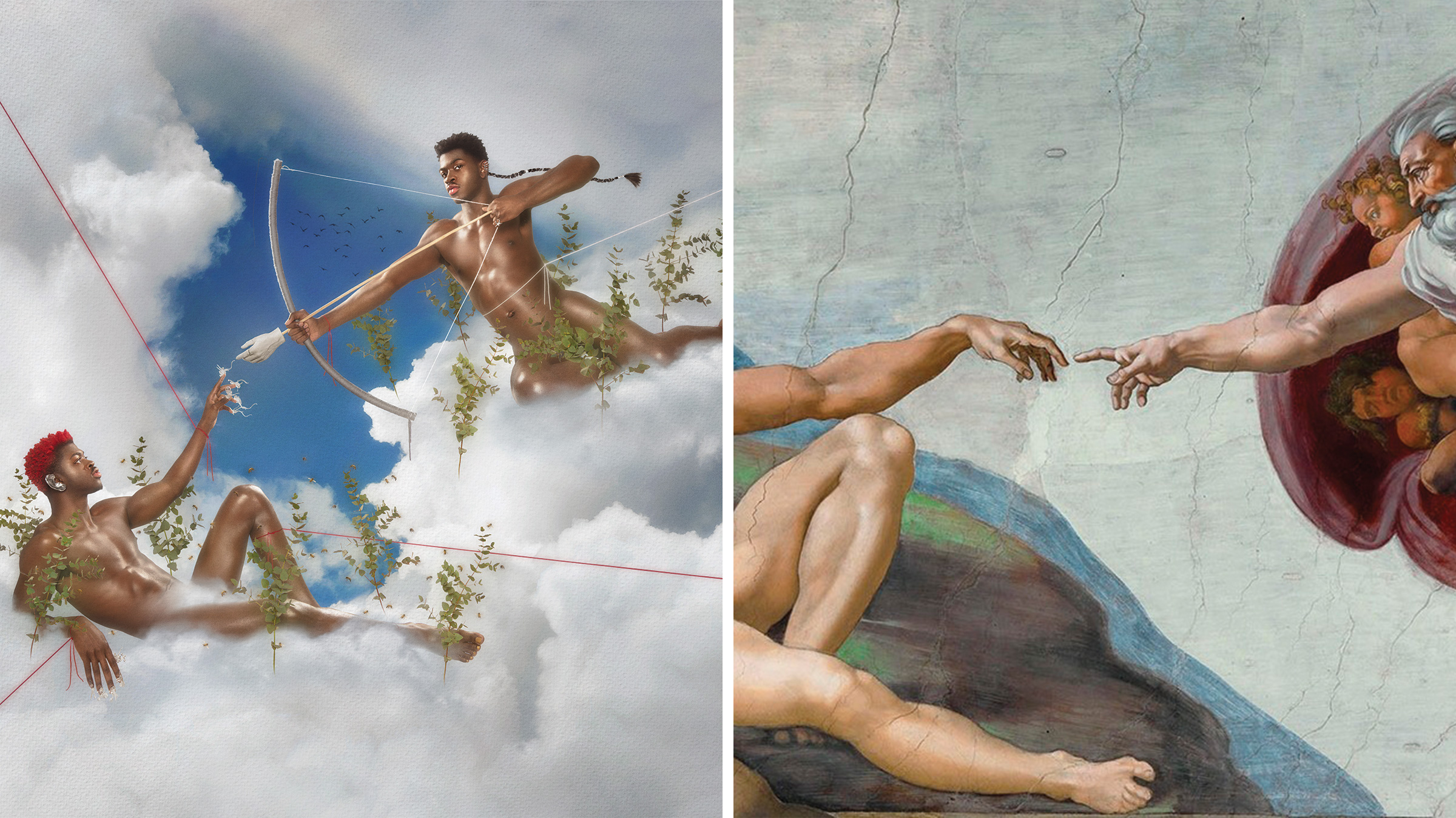 Left: MONTERO (Call Me By Your Name) album cover; Right: The Creation of Adam