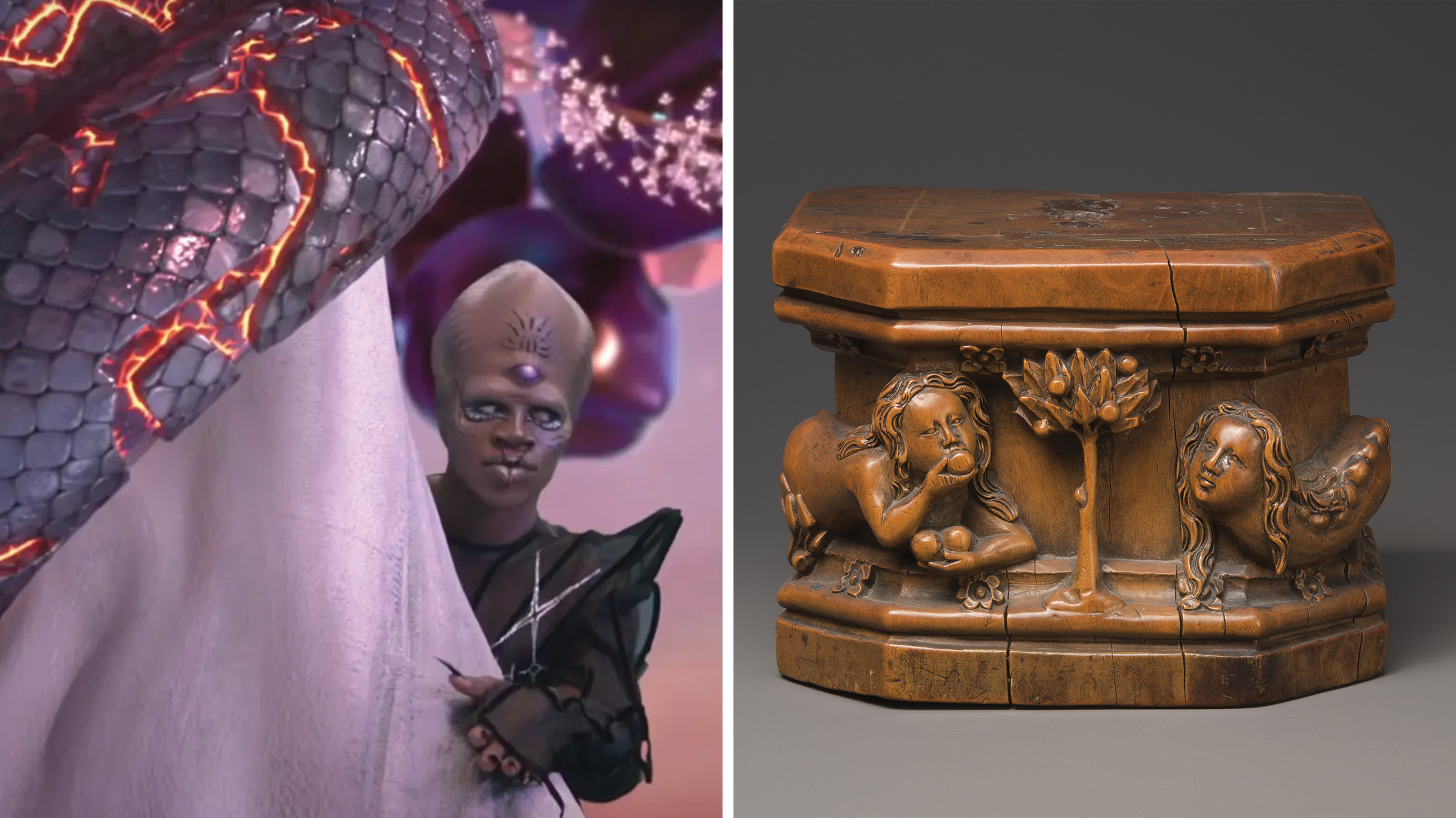 Left: The serpent in the Garden of Eden in Lil Nas X's  Montero. ; Right: Base for a Statuette in which the figures of Eve and the serpent appear on either side of the Tree of Knowledge in the Garden of Eden.