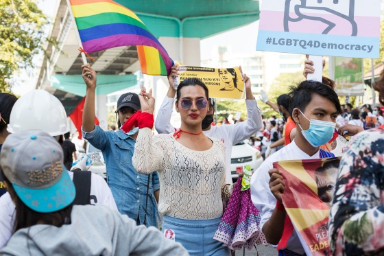 LGBTQ protesters in Yangon join broader pro-democracy protests on Feb. 14