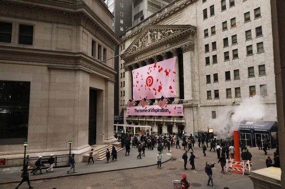 A Pinterest Inc. banner hangs from the New York Stock Exchange on the morning that Pinterest Inc. makes its initial public offering in New York City, on April 18, 2019.