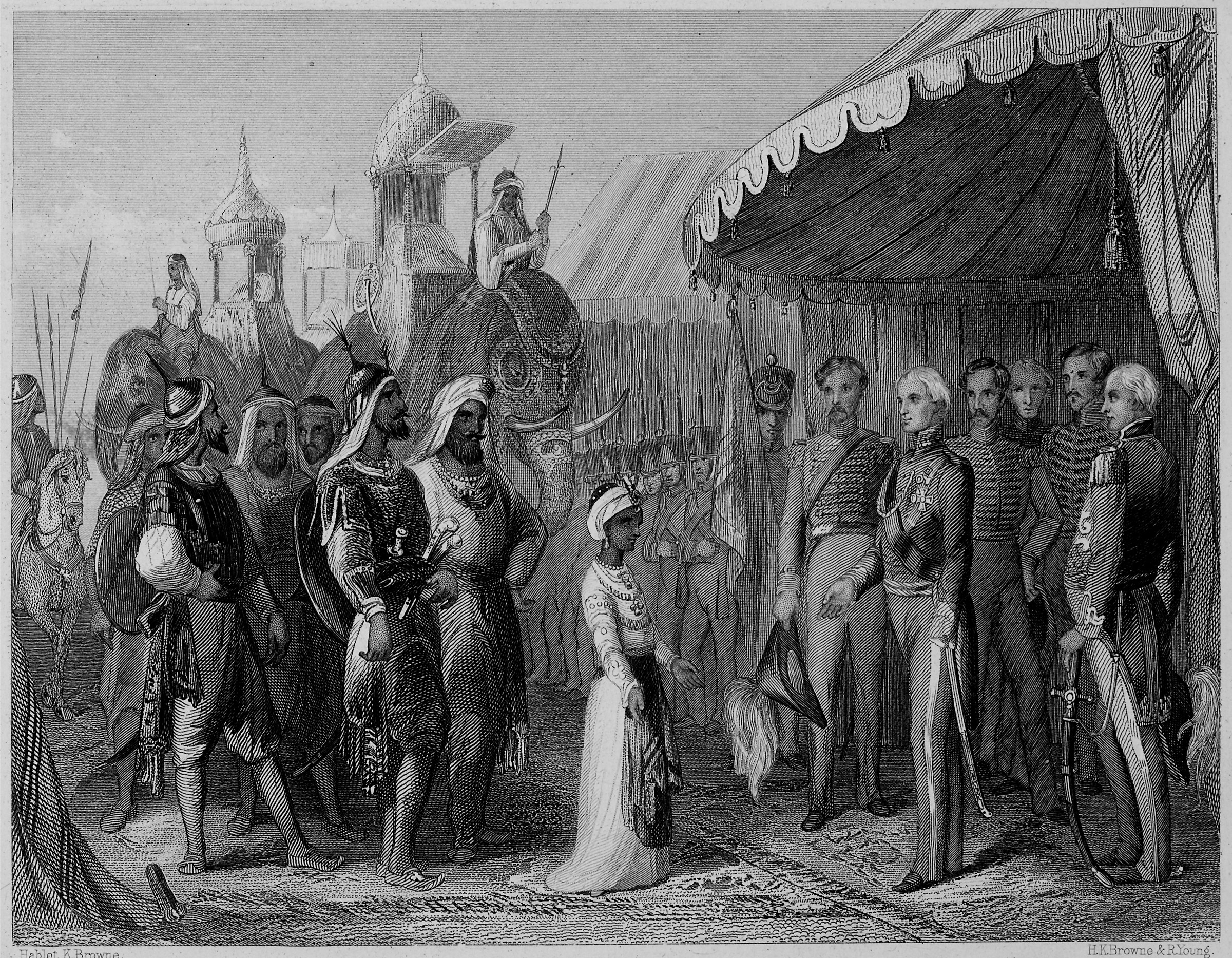 The submission of the Maharajah Duleep Singh to Sir Henry Hardinge as the battle of Sobraon ends the 1st Sikh War in India in 1846