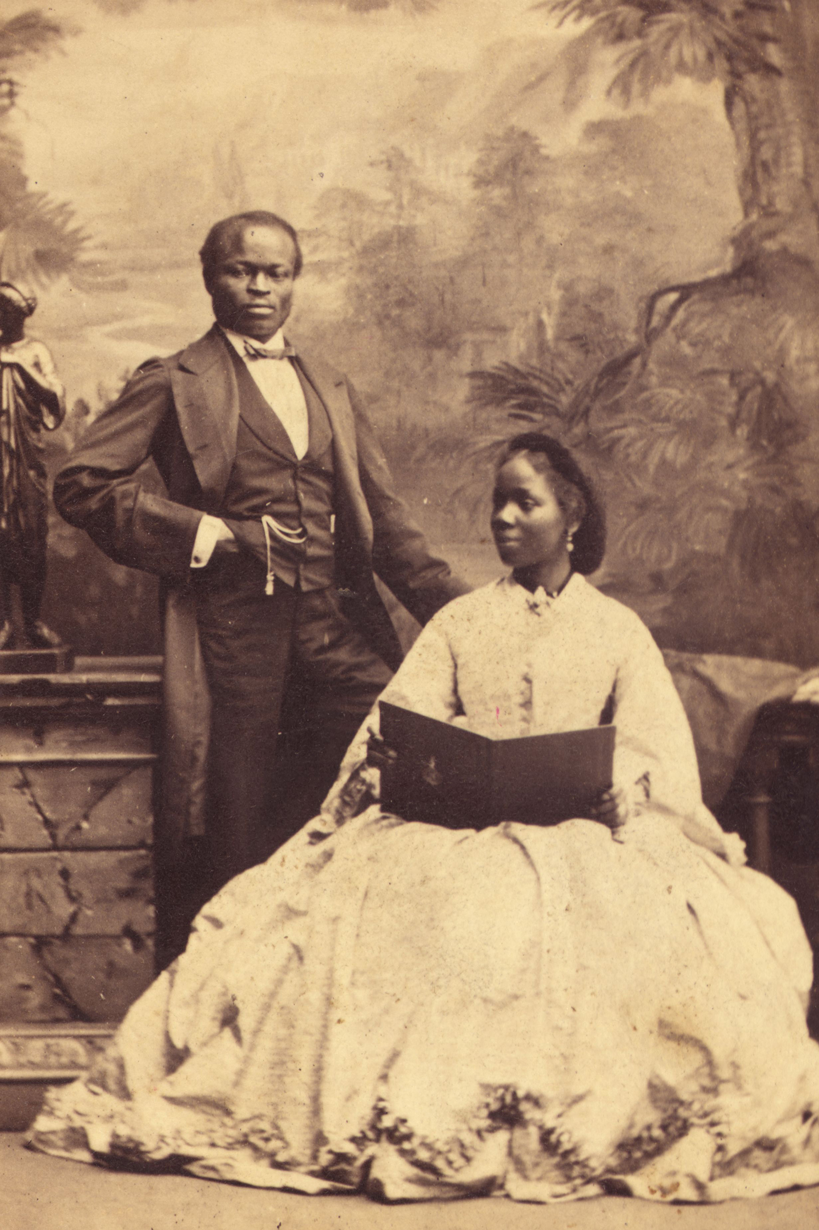 Sara Forbes Bonetta, god-daughter of Queen Victoria, with her husband James Davies on Sept. 15, 1862