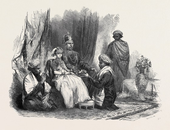 The Ex-Rajah Of Coorg, And His Daughter Princess Gouramma, And Suite, 1852