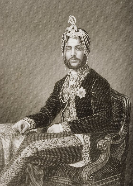 """Duleep Singh, Maharajah of Lahore, 1837-1893. Engraved by D.J. Pound from a photograph by Mayall. From the book """"The Drawing-Room Portrait Gallery of Eminent Personages"""" Published in London 1859."""