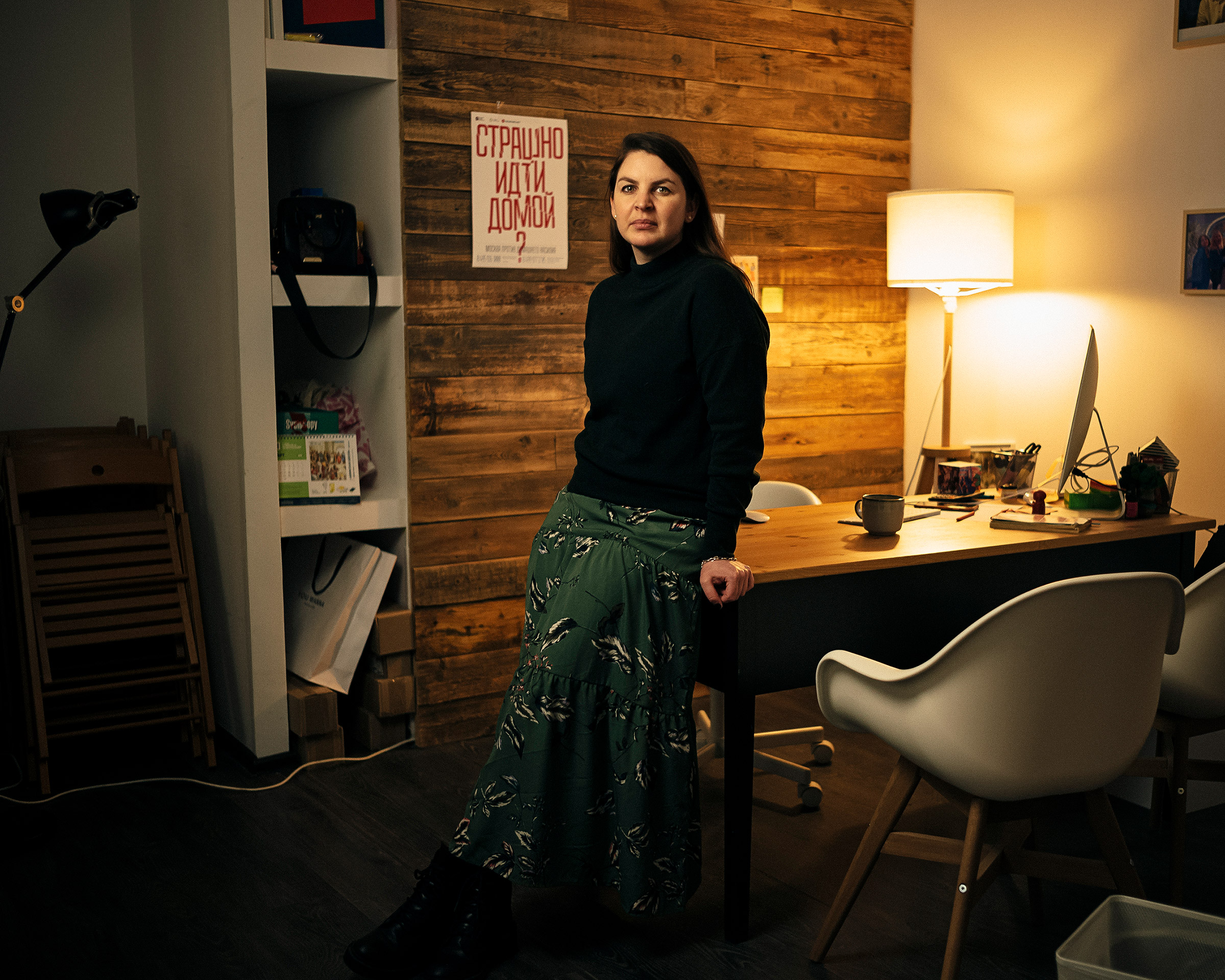 Anna Rivina, in the Moscow office of Nasiliu.net, a nonprofit that supports victims of domestic violence