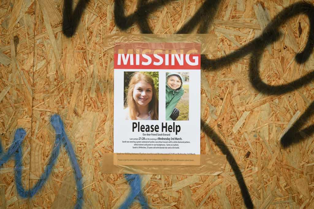Posters are seen along the last known route as the hunt for missing woman Sarah Everard entered its fifth day, on March 09, 2021 in London, England.