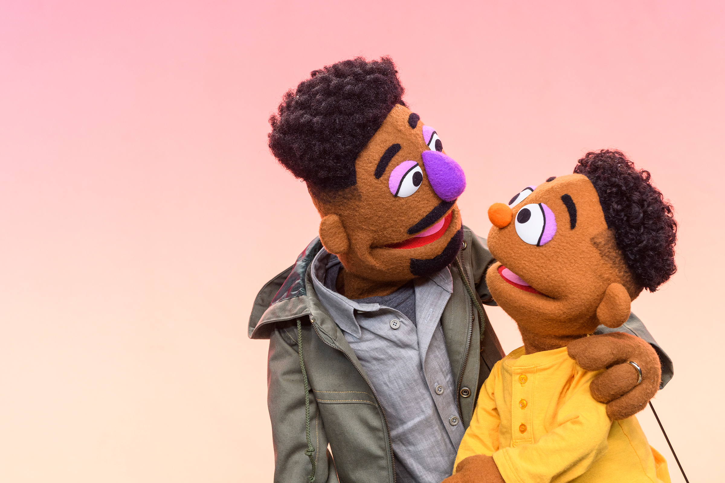 Elijah Walker, 35, a new Black Muppet who, along with his son Wesley, 5, will be introduced on March 23 by Sesame Workshop, the nonprofit behind Sesame  Street