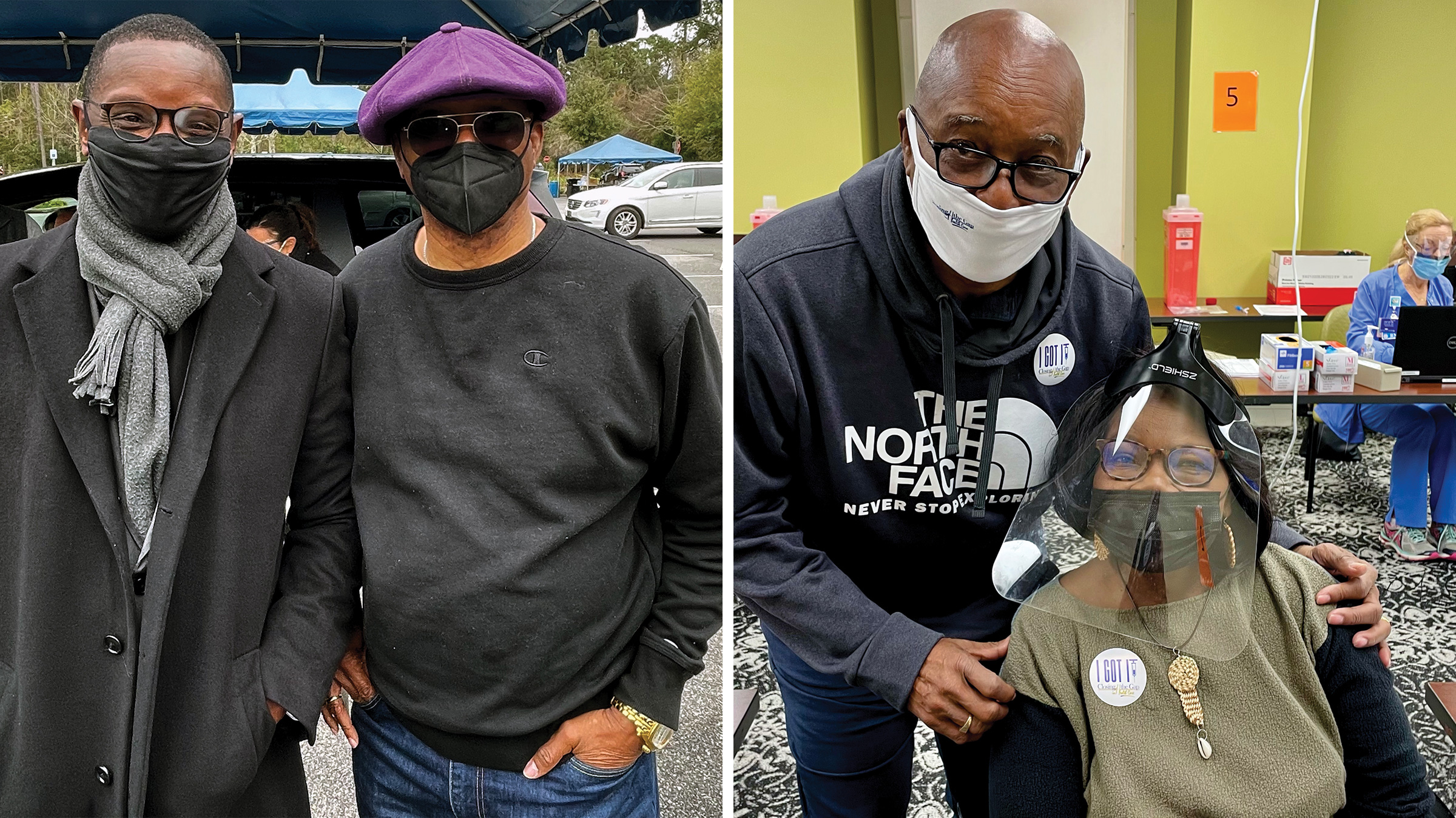 Left: Pastor Kylon Middleton, with Dr. Thaddeus Bell at East Cooper Medical Center in Mount Pleasant, S.C. on March 13; Right: Dr. Thaddeus Bell, with Henrietta Snype at East Cooper Medical Center in Mount Pleasant, S.C. on March 19.