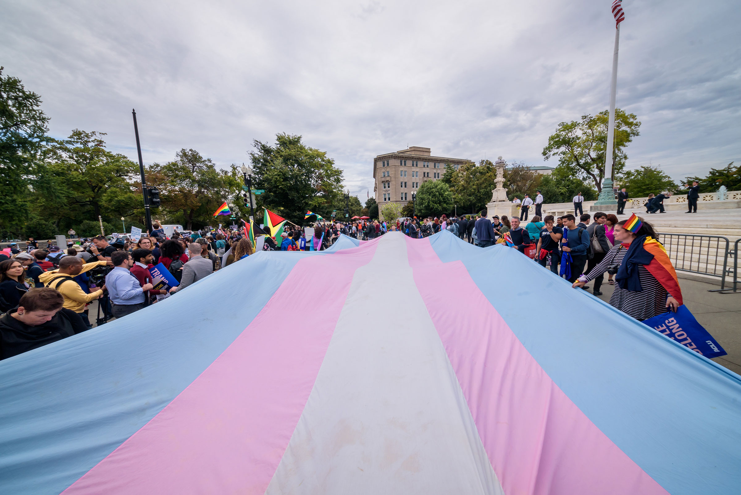 A large Trans Pride flag unfurled outside the Supreme Court in Washington on Oct. 8, 2019.