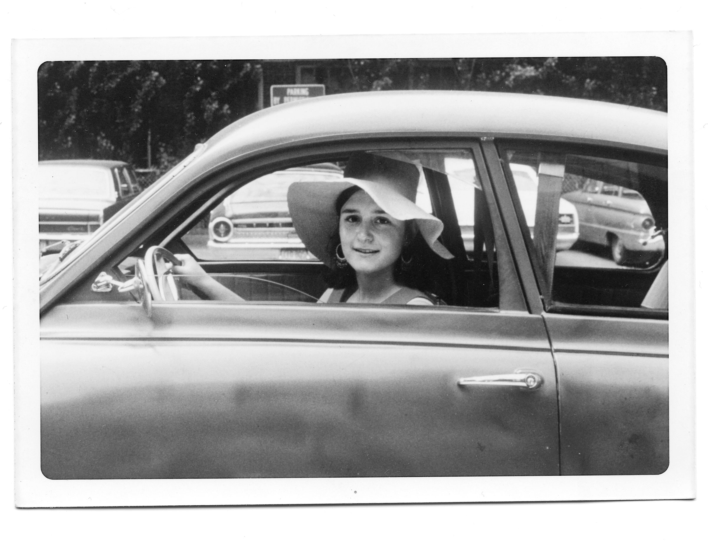 Sherry Turkle in her roadster at Radcliffe College graduation, June 1970