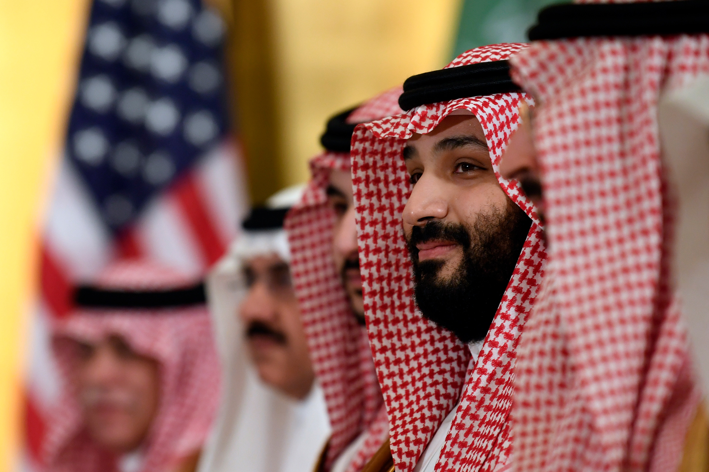 In this June 29, 2019 photo, Saudi Arabia's Crown Prince Mohammed bin Salman listens during his meeting with President Donald Trump on the sidelines of the G-20 summit in Osaka, Japan
