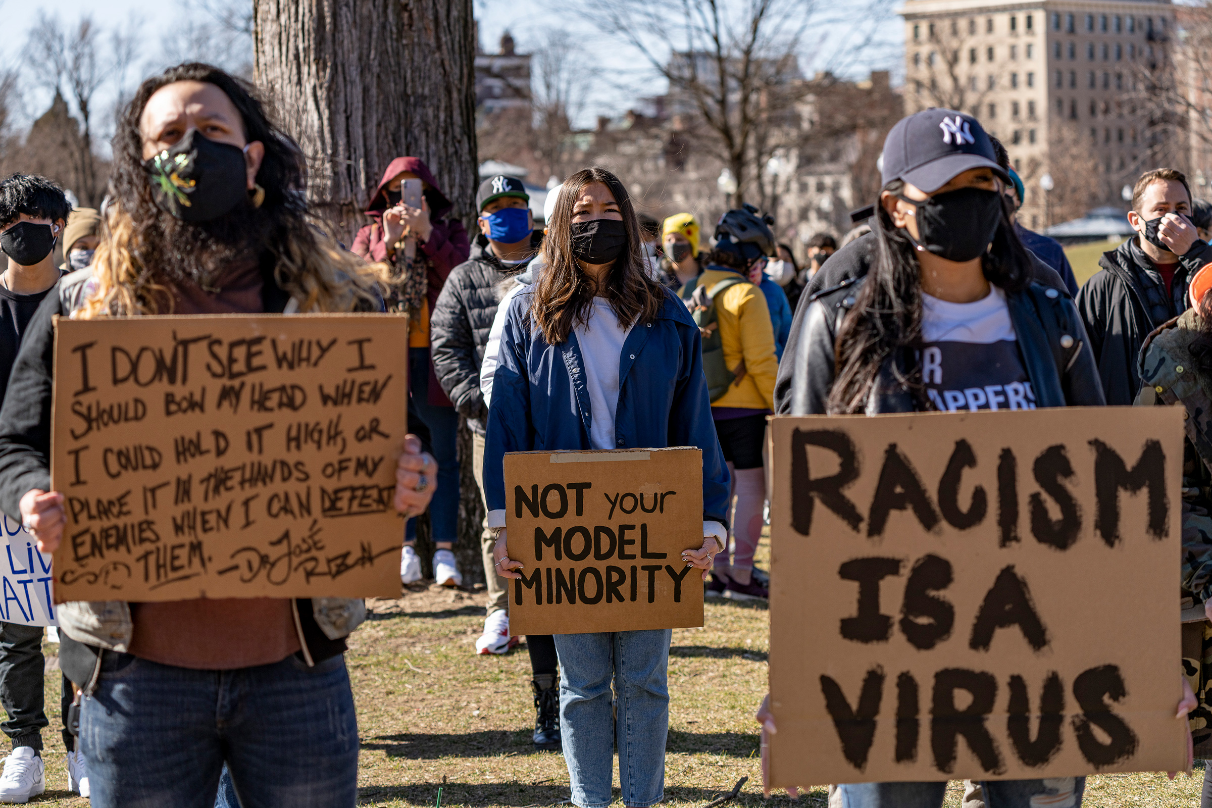 Demonstrators rally against anti-Asian violence and hate crimes in Boston on March 13