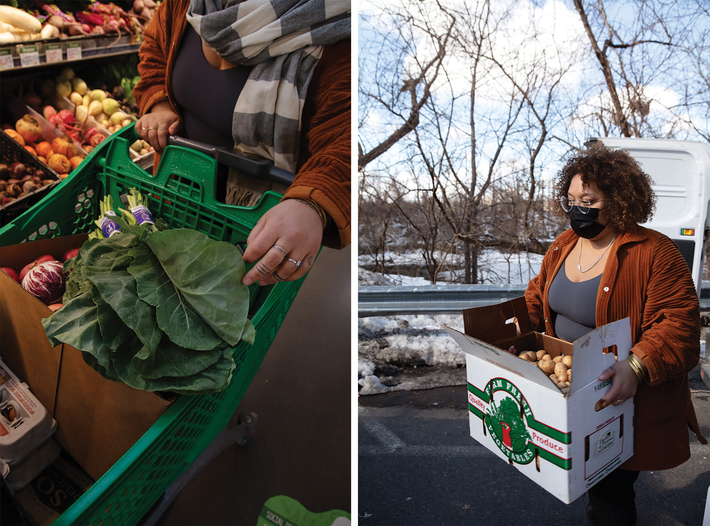 Anderson picks up groceries from Honest Weight Food Co-op, left, and potatoes from Denison Farm, right, to fill the fridges