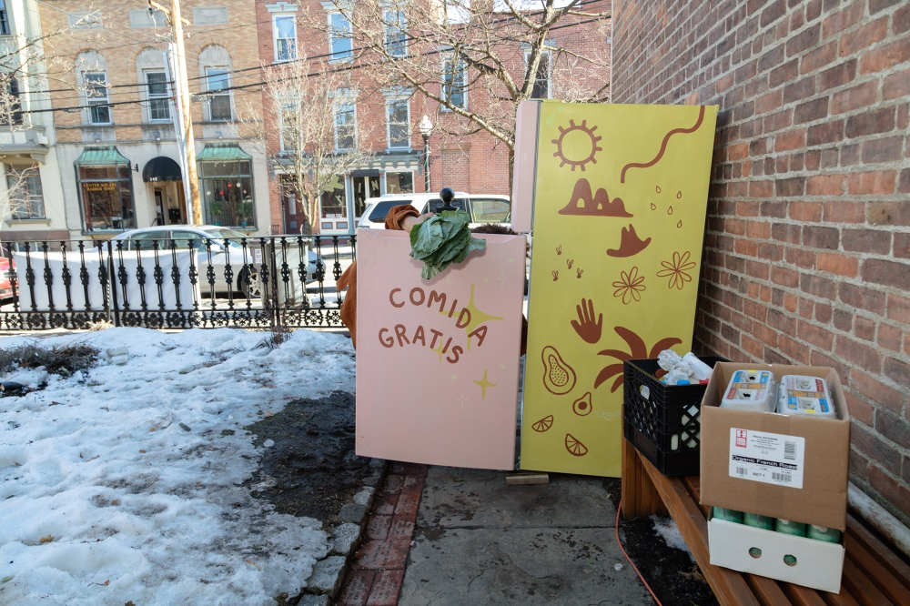 Anderson commissions local artists to decorate her fridges. This one on Lark Street was painted by a local kombucha vendor