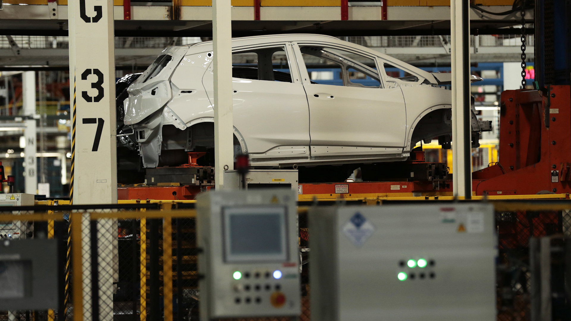 A 2019 Chevrolet Bolt vehicle sits on the assembly line at the General Motors Co. Orion Assembly plant in Orion Township, Michigan, U.S.
