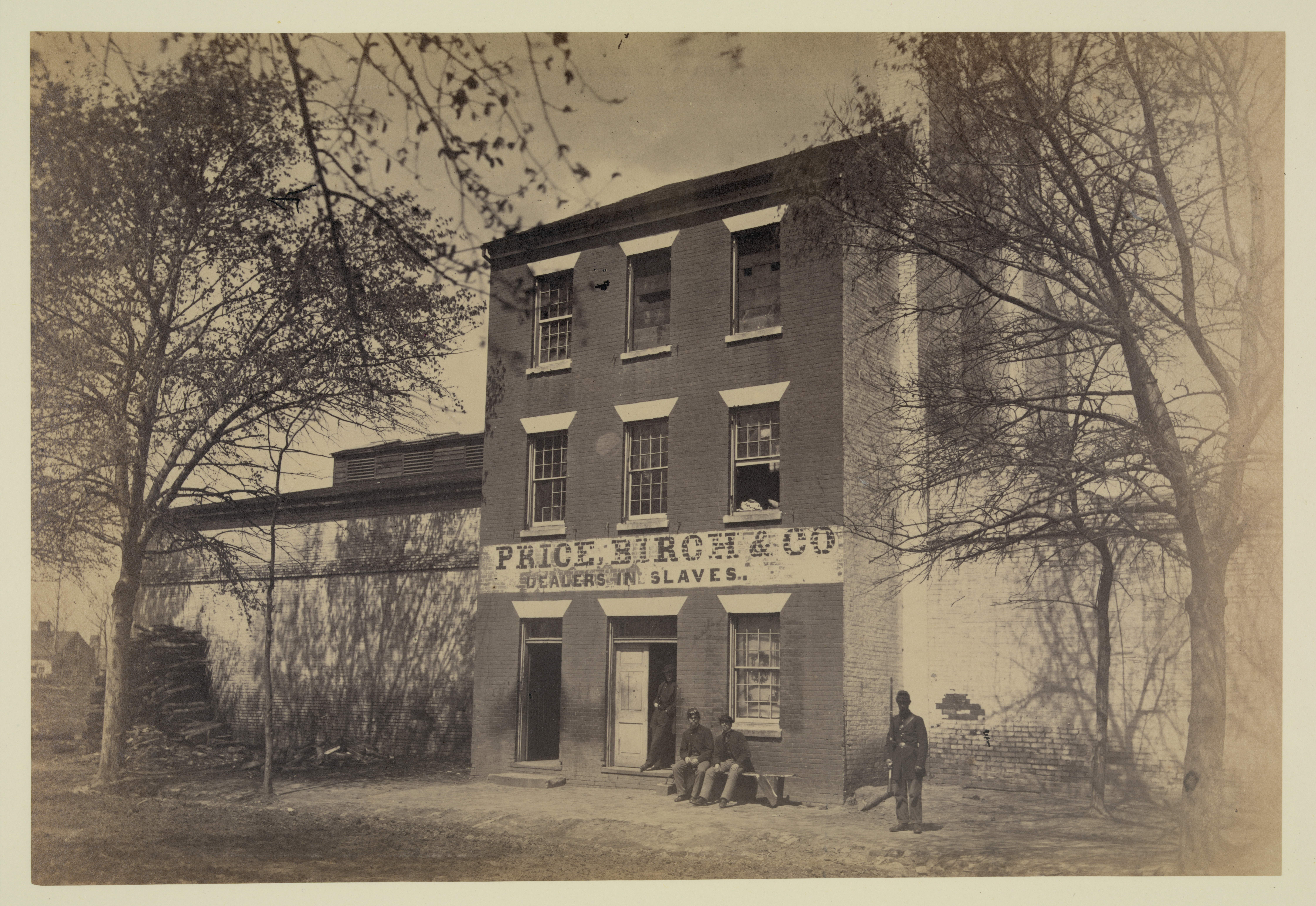 The Alexandria slave trading facility once occupied by Franklin and Armfield, as it appeared after its liberation by Union forces during the Civil War. Library of Congress Prints and Photographs Division