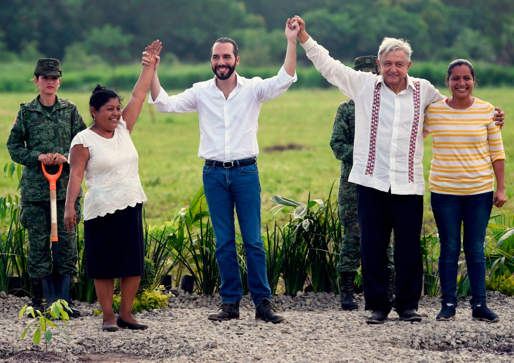 Mexican President Andrés Manuel López Obrador and his Salvadoran counterpart Nayib Bukele at a launch event for the Sowing Life program in Tapachula, Chiapas state, Mexico on June 20, 2019.