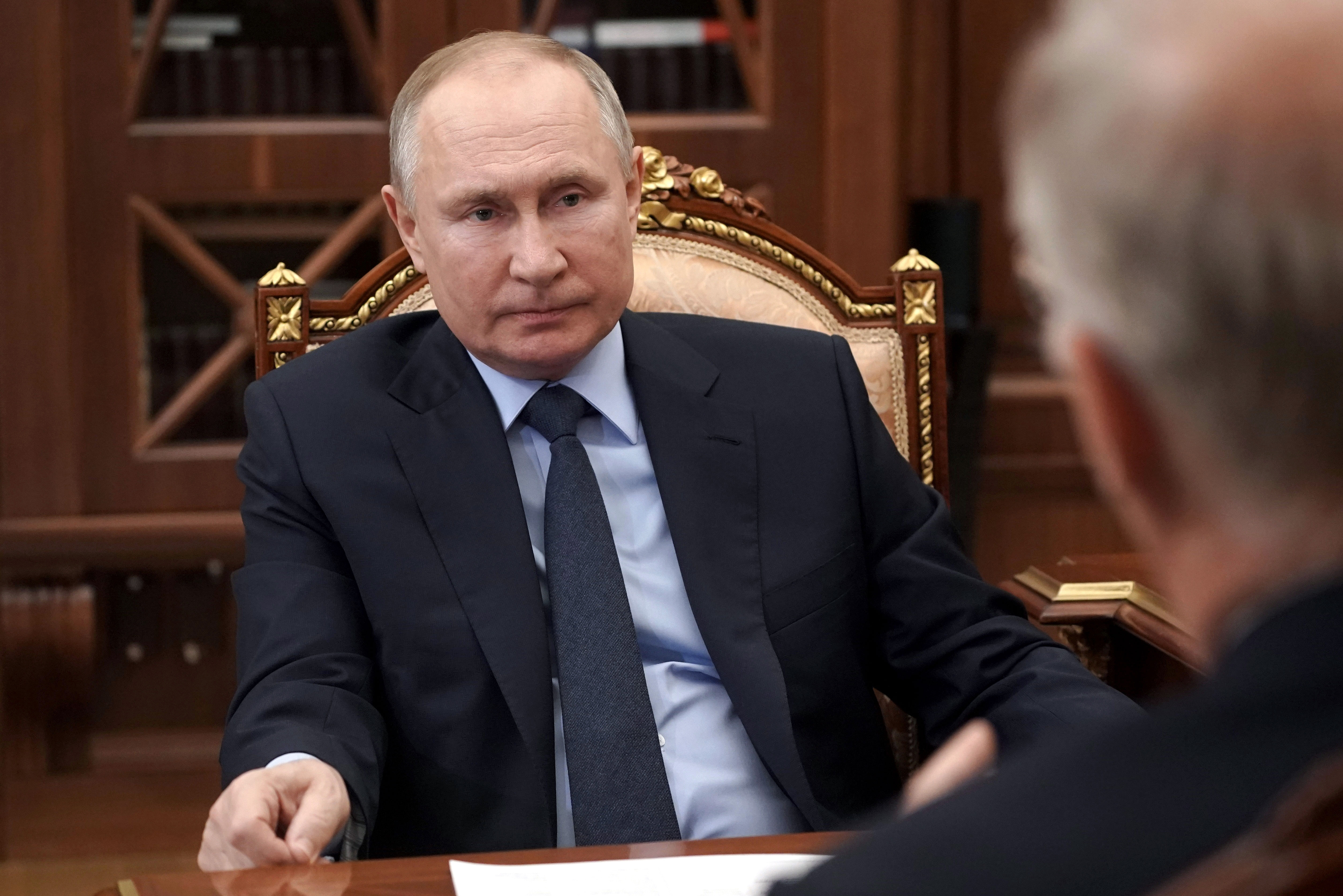 Russian President Vladimir Putin at the Kremlin in Moscow, Russia, Friday, April 2, 2021.