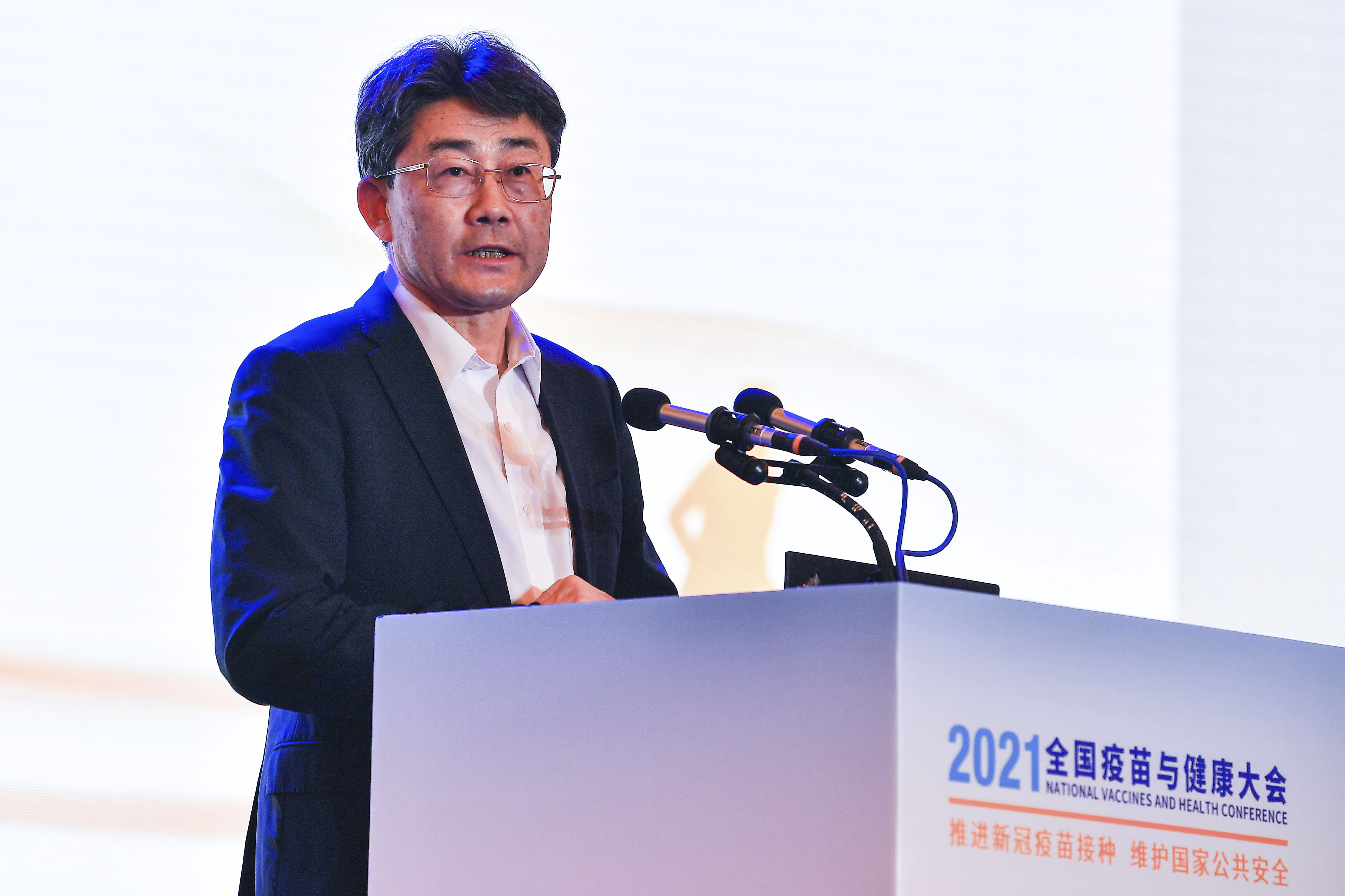 Gao Fu, director of the China Centers for Disease Control, speaks at the National Vaccines and Health conference in Chengdu in southwest China's Sichuan province Saturday, April 10, 2021.