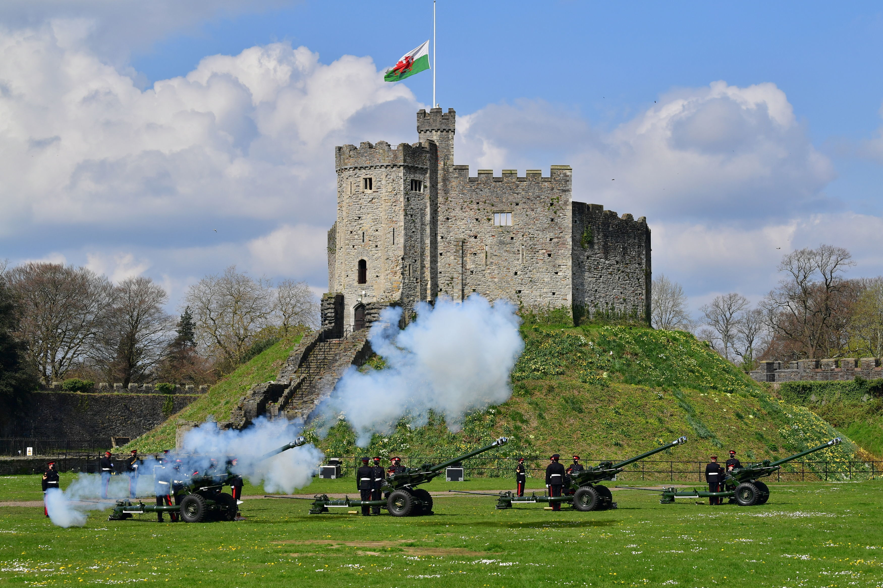 Members of the 104th Regiment Royal Artillery fire a 41-round gun salute in the grounds of Cardiff Castle, to mark the death of Prince Philip, in Cardiff on April 10, 2021.