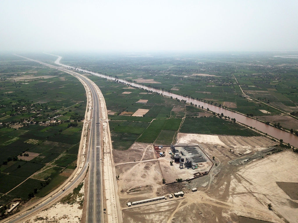 An aerial photo taken on Aug. 5, 2019 shows the Sukkur-Multan Motorway in central Pakistan, built as part of the China-Pakistan Economic Corridor (CPEC)