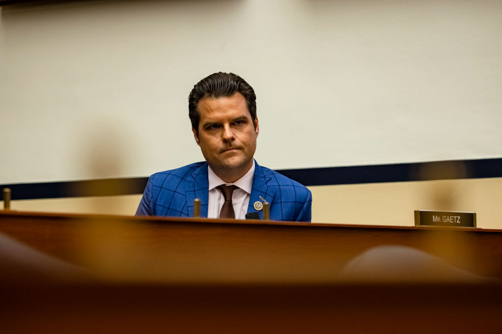 Rep. Matt Gaetz (R-FL) during a House Armed Services Subcommittee hearing with members of the Fort Hood Independent Review Committee on Capitol Hill in Washington, DC, on December 9, 2020.