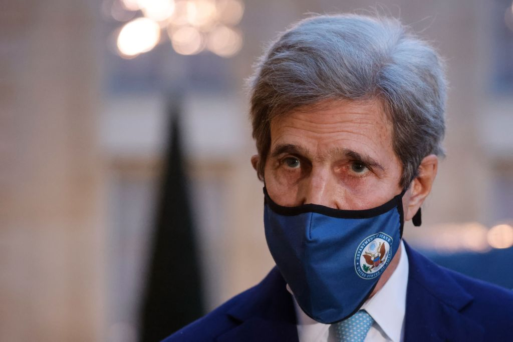 US Special Presidential Envoy for Climate John Kerry speaks to the press after a meeting with the French president at The Elysee Presidential Palace in Paris on March 10, 2021.