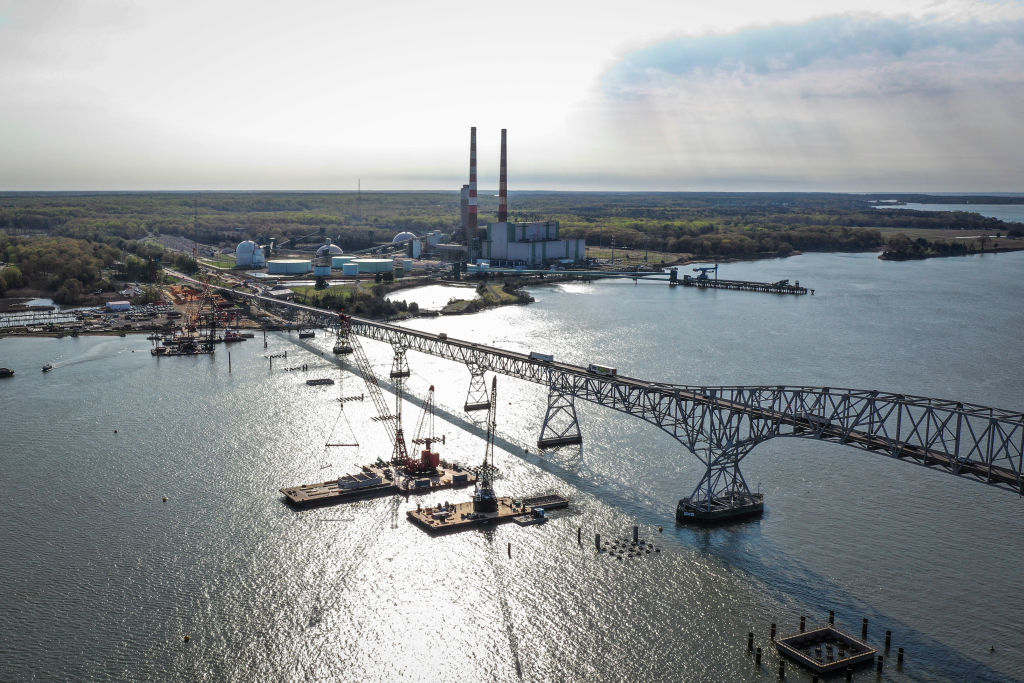 Construction continues on a new $463 million Nice/Middleton Bridge in Newburg, Maryland, on April 8, 2021.