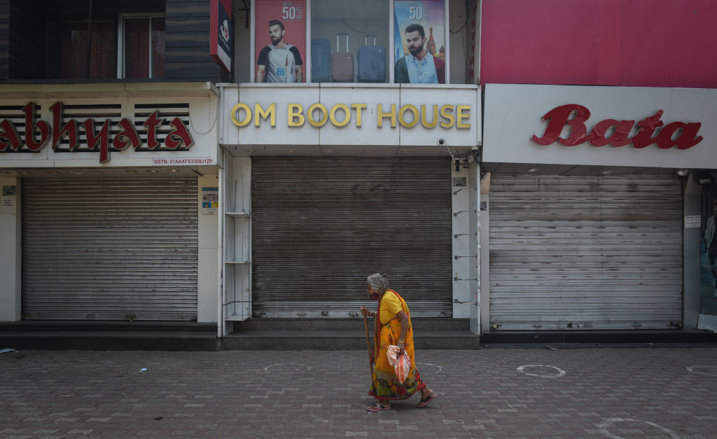 A view of Sarojini Nagar Market during a weekend curfew imposed to check Covid-19 on April 17, 2021 in New Delhi, India.