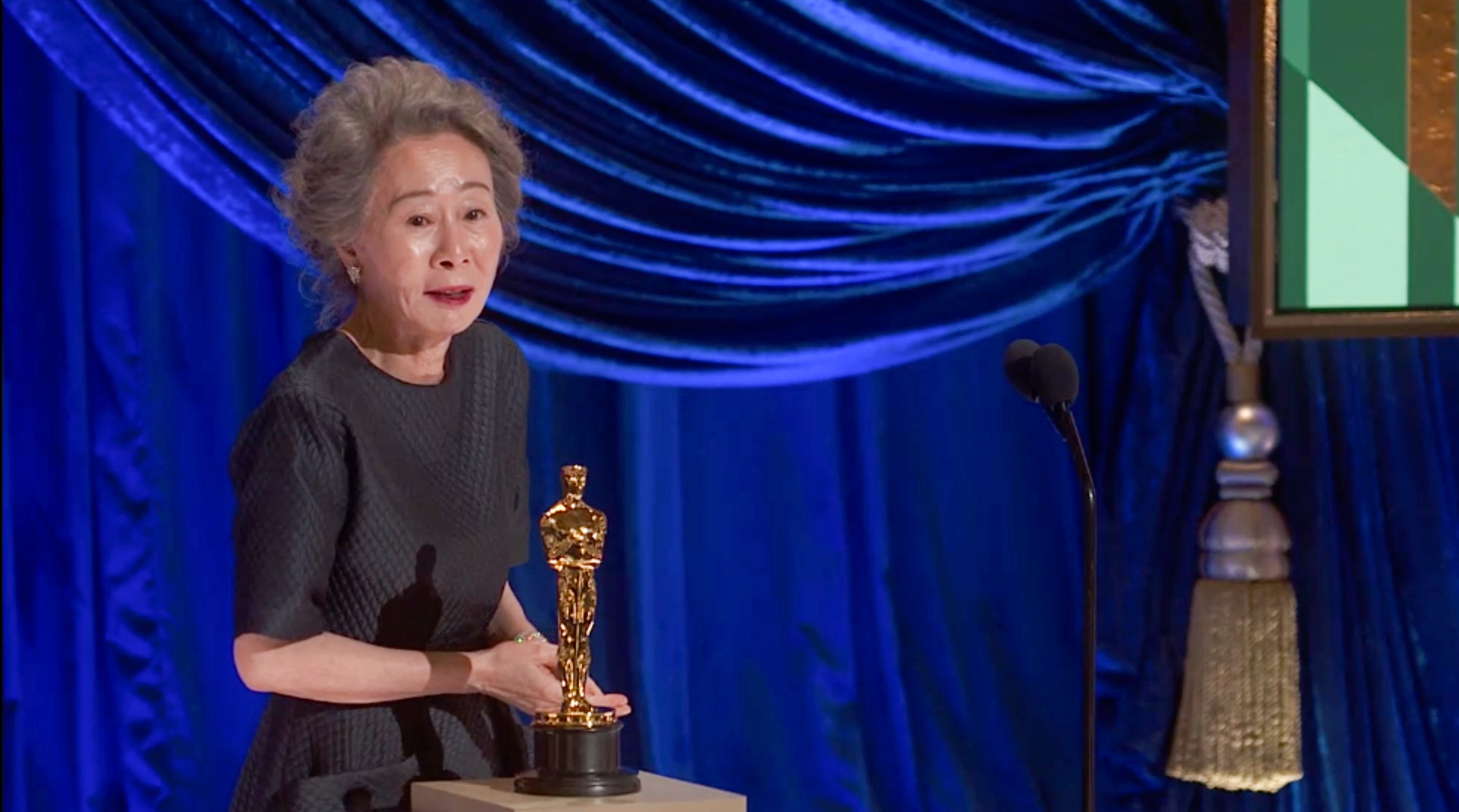 Yuh-Jung Youn accepting the Oscar for Best Supporting Actress for 'Minari'