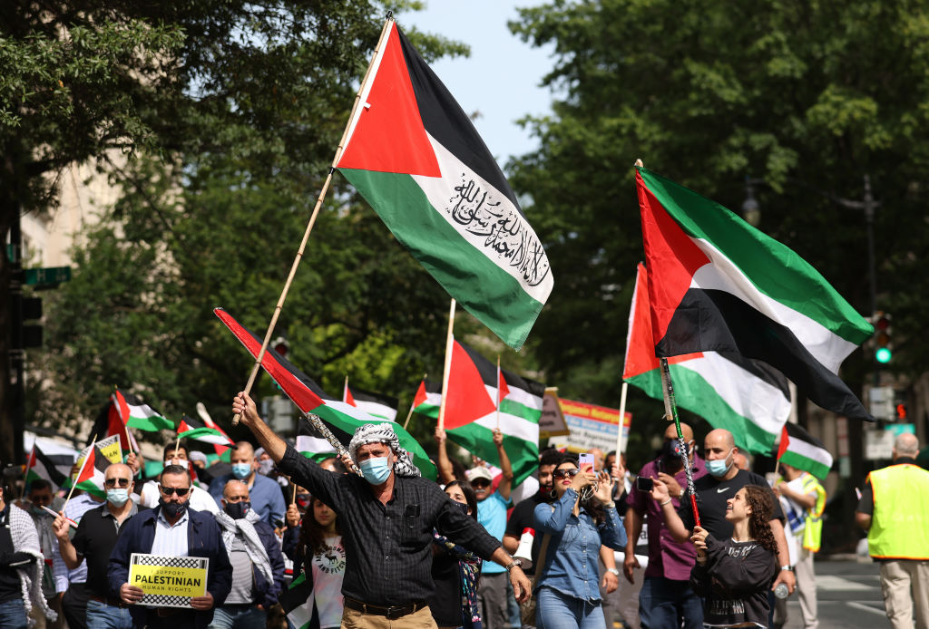 Protesters from multiple Palestinian rights organizations march outside the White House on Sept. 15, 2020 in Washington, DC.