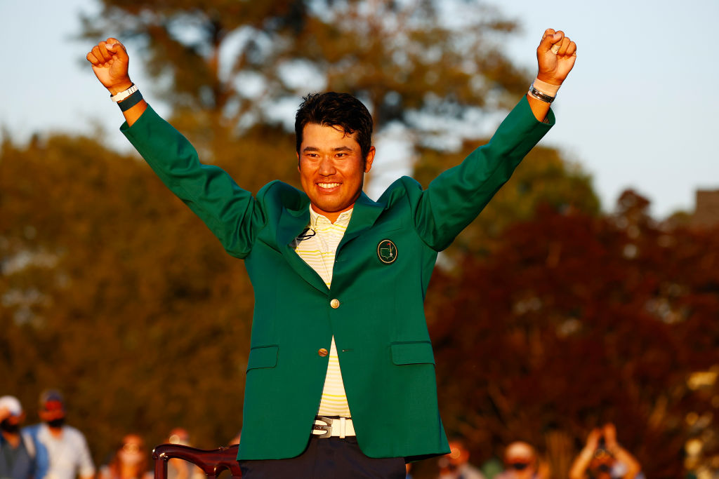 Hideki Matsuyama of Japan celebrates during the Green Jacket Ceremony after winning the Masters at Augusta National Golf Club on April 11, 2021 in Augusta, Georgia.