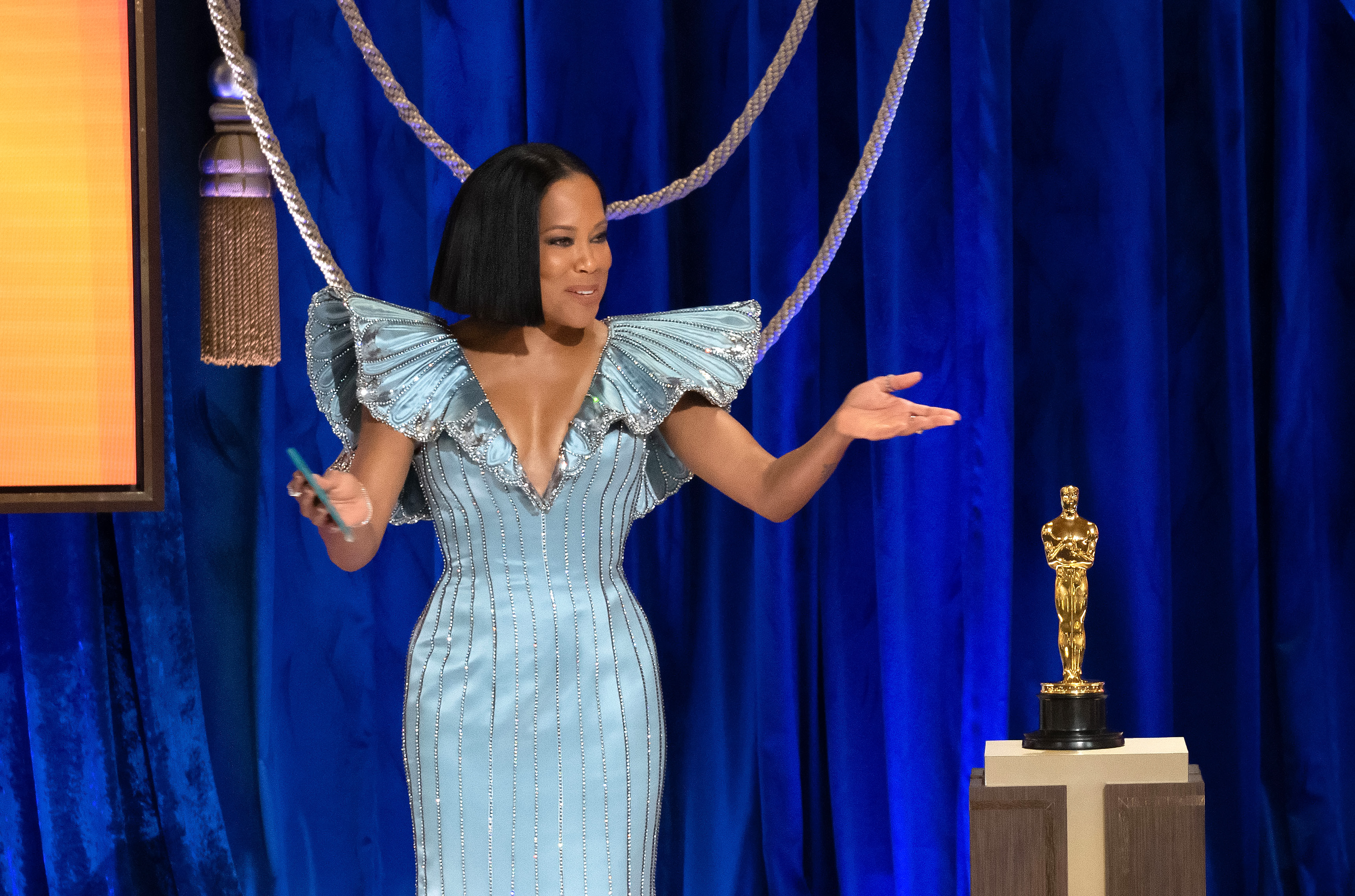 Regina King opening the 2021 Oscars on April 25, 2021