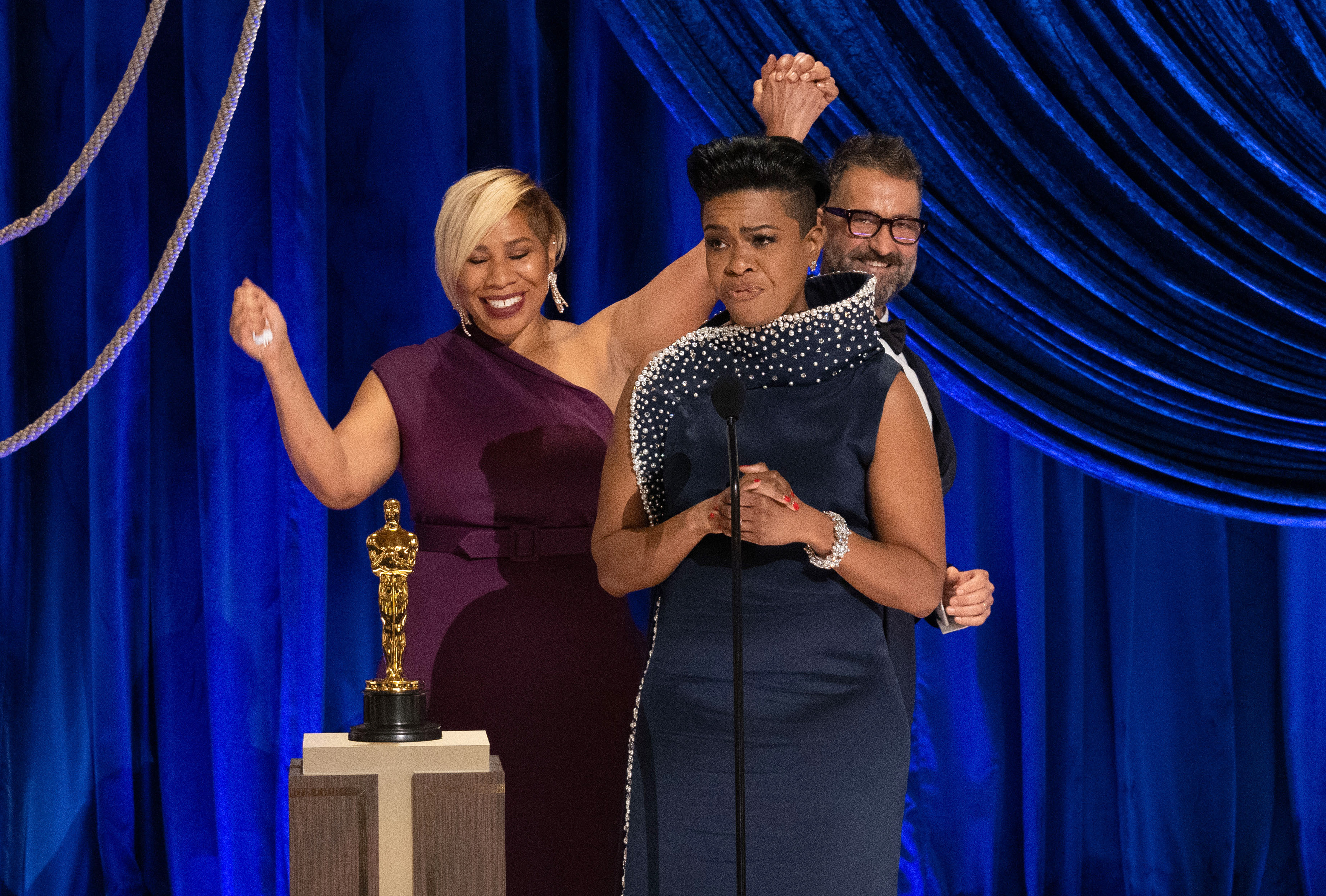 Jamika Wilson, Mia Neal, and Sergio Lopez-Rivera accept the Makeup and Hairstyling award for 'Ma Rainey's Black Bottom' during the 93rd Annual Academy Awards
