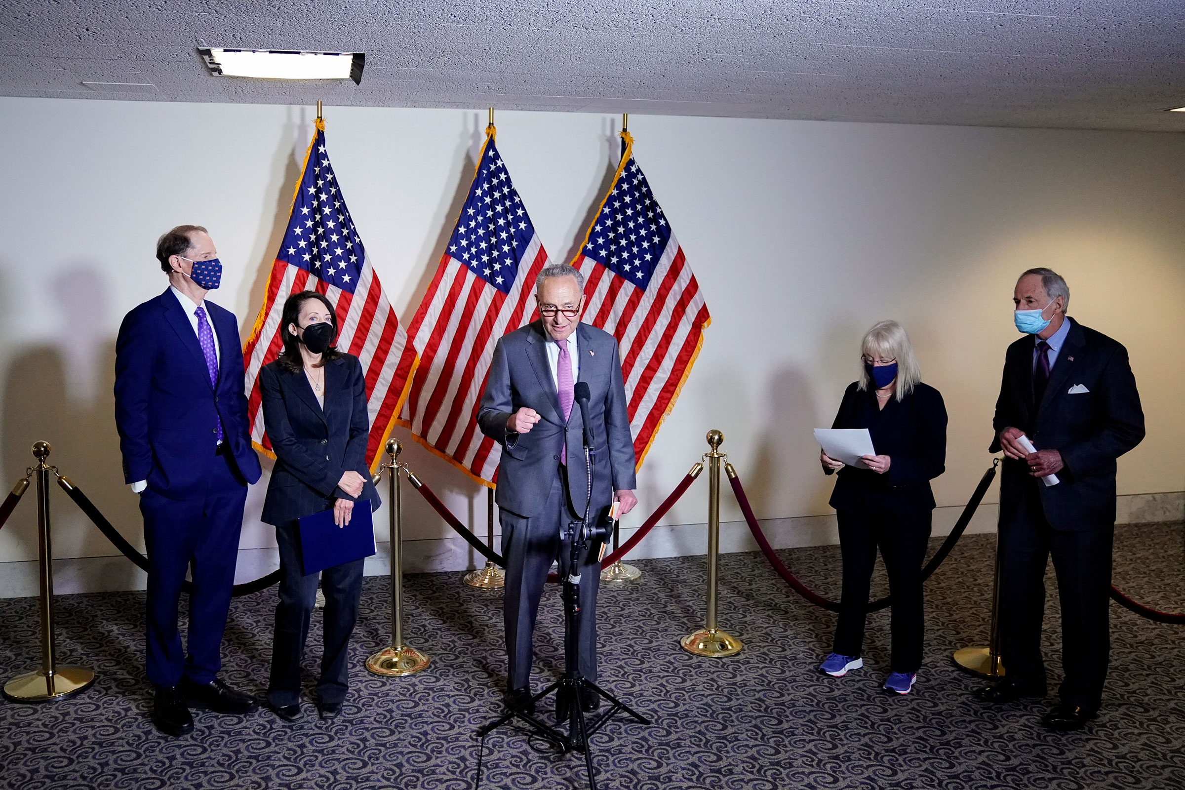 Senate Majority Leader Chuck Schumer and Democratic leadership hold a news conference after the first Democratic luncheon meeting since COVID-19 restrictions went into effect on Capitol Hill in Washington, on April 13, 2021.