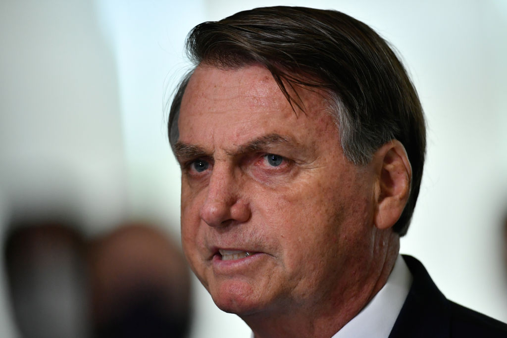 President of Brazil Jair Bolsonaro speaks during pronouncement on the new emergency aid amidst the coronavirus pandemic.