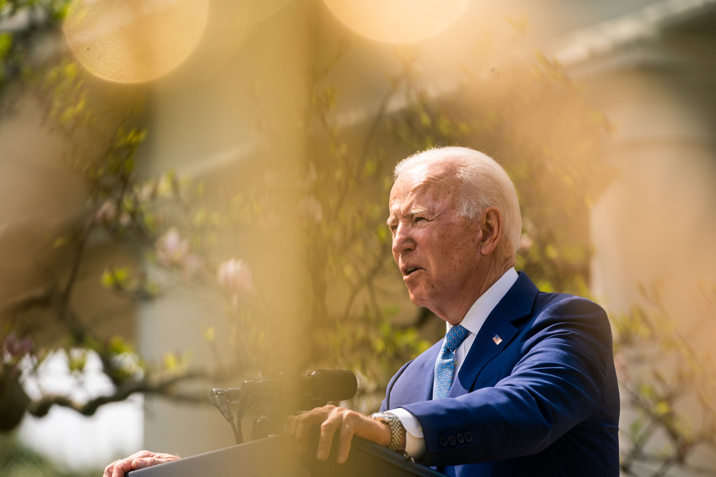 President Joe Biden makes remarks in the Rose Garden at the White House on April 8, 2021.