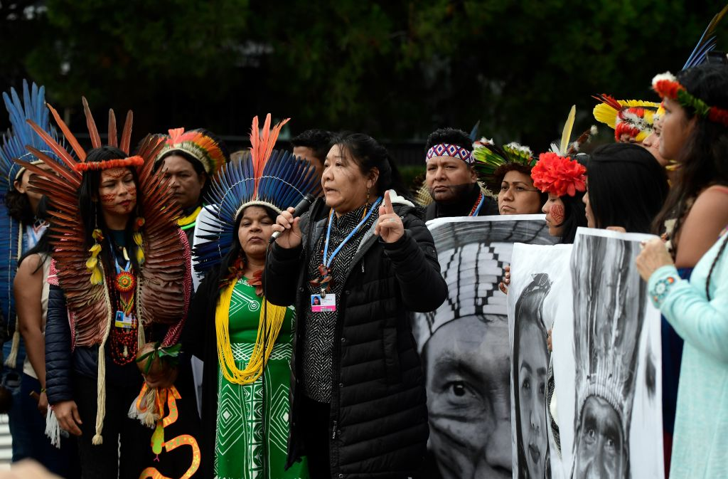 Indigenous rights defender, Brazilian lawyer Joenia Batista de Carvalho aka Joenia Wapichana takes part in a demonstration demanding climate justice outside the venue of the UN Climate Change Conference COP25 at the in Madrid, on December 9, 2019.