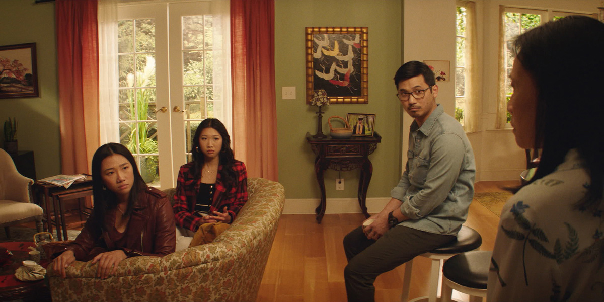 Kung Fu --  Pilot  -- Image Number: KF101fg_0004r2.jpg -- Pictured (L-R): Olivia Liang as Nicky Shen, Shannon Dang as Althea Shen, Jon Prasida as Ryan Shen and Kheng Hau Tan as Mei - Li Shen -- Photo: The CW -- © 2021 The CW Network, LLC. All Rights Reserved