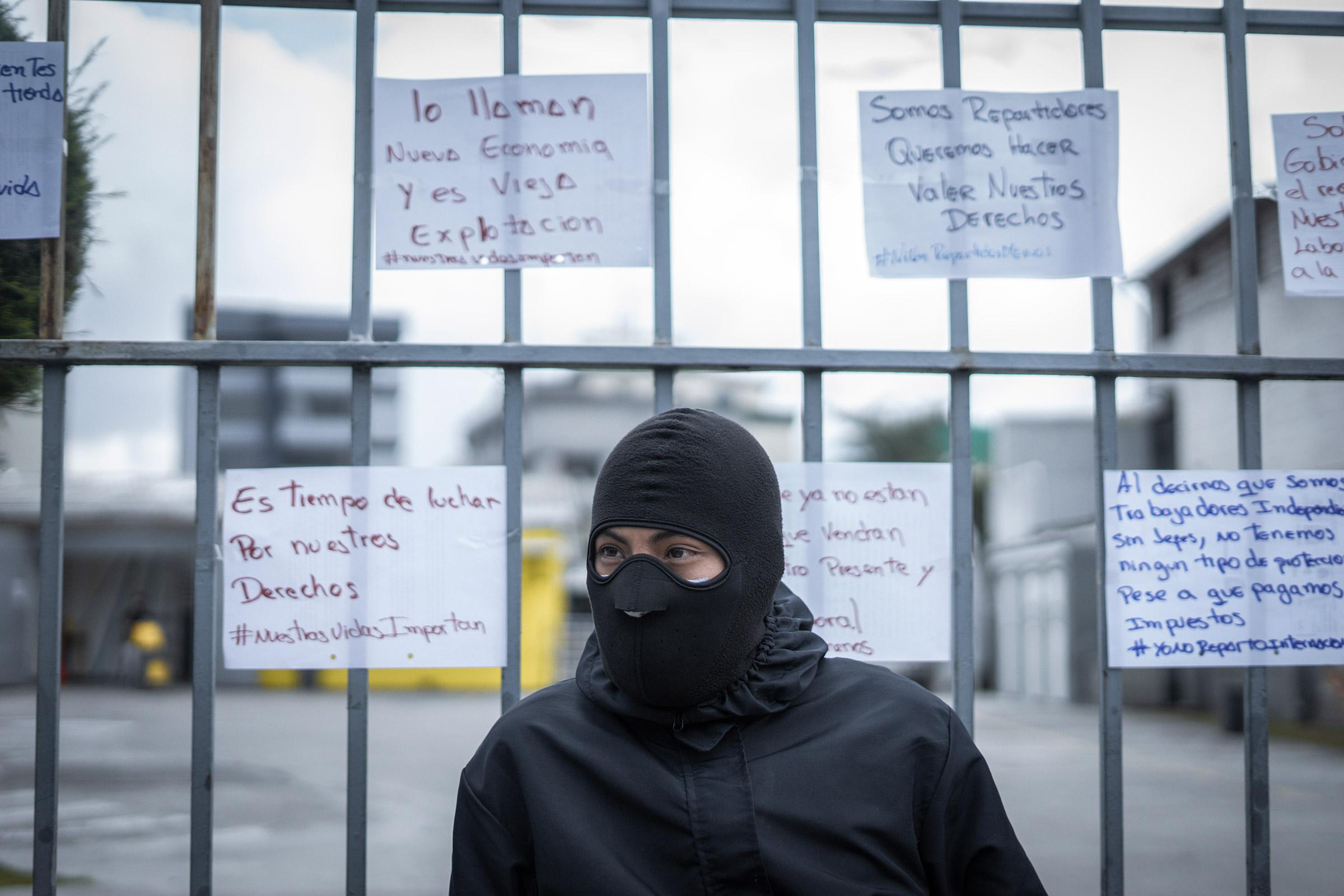 A driver attends a protest last April 22 in Quito, Ecuador.
