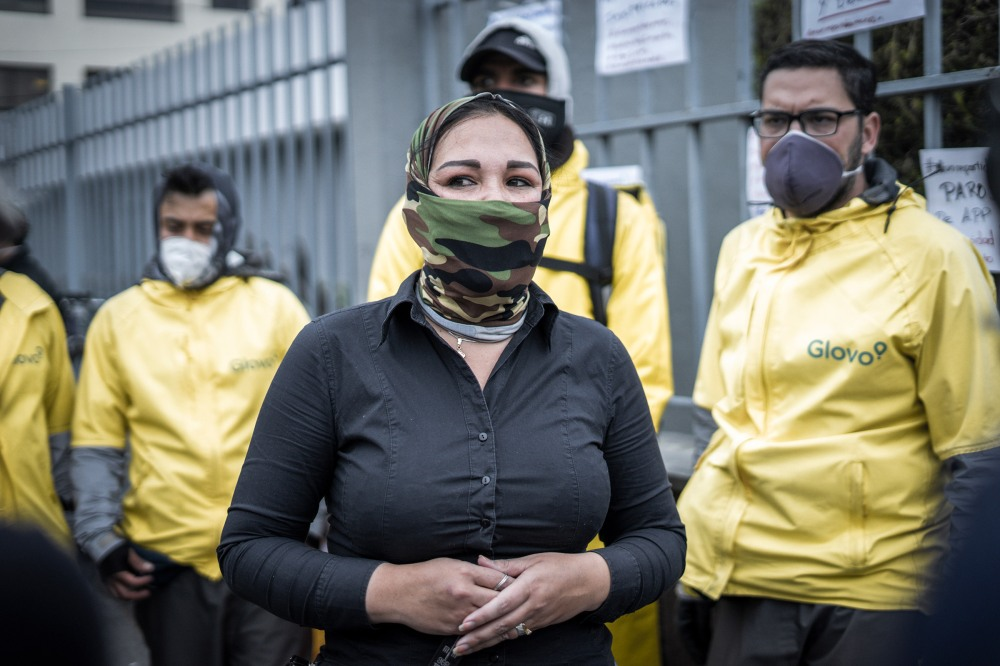 "Yuly Ramírez protesting during a global drivers protest on April 22nd in Quito, Ecuador She is one of the spokesperson demanding drivers rights. Drivers from eleven countries, most of them in Latin America, protested under the motto ""I wont deliver"""